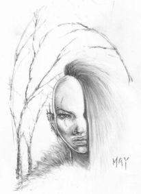 Weiblich, Bleistiftzeichnung, Fantasie, Zeichnungen
