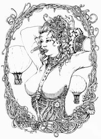 Dame, Tuschmalerei, Weiblich, Steampunk