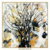 Ocker, Bienenwachs, Baum, Malerei