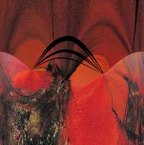 Digital, Brücke, Rot, Digitale kunst