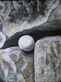 Stein, Bretagne, Kohlezeichnung, Meneham