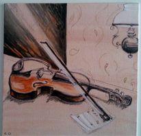 Licht, Geige, Schatten, Petroleumlampe