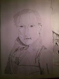 Portrait, Bleistiftzeichnung, Collage, Mischtechnik