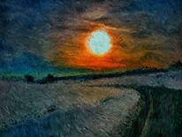 Impressionismus, Sonnenuntergang, Wind, Digitale kunst