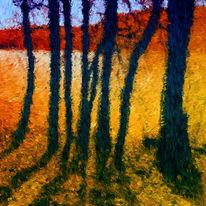 Landschaft, See, Impressionismus, Digitale kunst