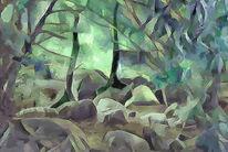 Landschaft, Granit, Labyrinth, Digitale kunst