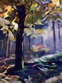 Herbst, Waldnaabtal, Oberpfalz, Granitfelsen