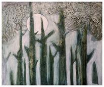 Baum, Nebel, Mond, Angst