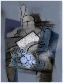 Digitale kunst, Stillleben, Weinglas, Trauben