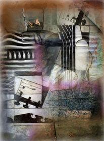 Kubismus, Gitarre, Stillleben, Digitale kunst