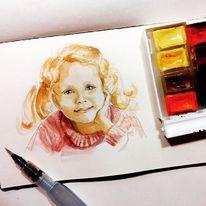 Skizzenbuch, Aquarellmalerei, Portrait, Mädchen