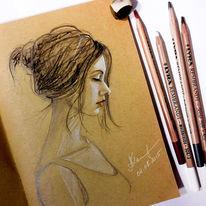 Portrait, Kohlezeichnung, Skizze, Frau
