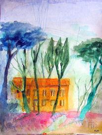 Haus, Baum, Pinie, Malerei