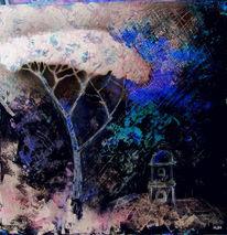 Schwarz, Baum, Pinie, Malerei