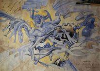 Mauer, Aquarellmalerei, Malerei,