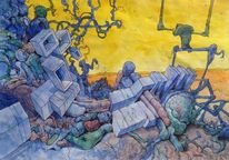 Aquarellmalerei, Wand, Comic, Illustration