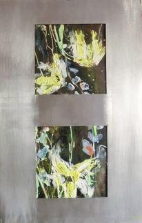 Blumen, Abstrakt, Gelb, Mischtechnik