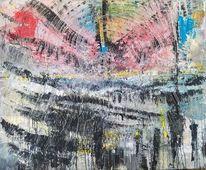 Mischtechnik, Abstrakte malerei, Aufgewühlt, Experimentelle kunst