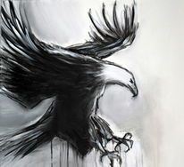 Beutezug, Schwarz weiß, Adler, Malerei