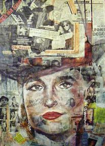 Collage, Malerei, Portrait, Ausdruck
