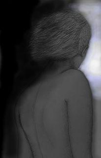 Rückenkehren, Licht dunkelheit, Zeichnungen, Rücken