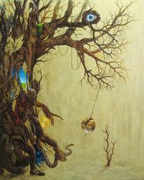Gold, Stamm, Welt, Baum