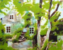 Acrylmalerei, Haus, Baum, Bretagne