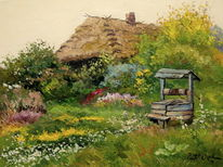 Garten, Altes haus, Blumen, Geheime