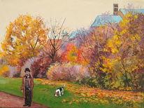 Kirche, Herbst, Hund, Park
