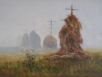 Heu, Feld, Landschaft, Nebel