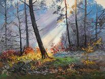 Wald sonne bäume, Malerei, Wald, Sonne