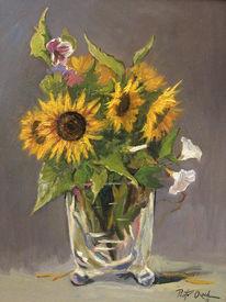 Sonnenblumen glasvase, Malerei, Sonnenblumen