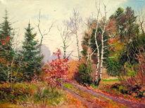 Winter wald bäume, Malerei, Winter, Warten
