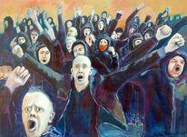 Meinungsfreiheit, Aggression, Demokratie, Malerei