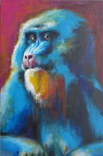 Portrait, Affe, Mandrill, Malerei