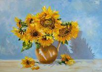 Sonnenblumen, Vase, Sommer, Helios