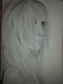 Frau, Zeichnung, Mund, Lippen