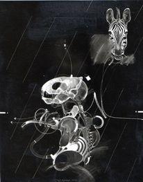 Maske, Zebra, Homme, Malerei