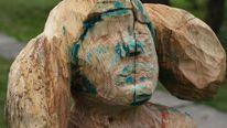 Skulptur, Frau, Holz, Portrait