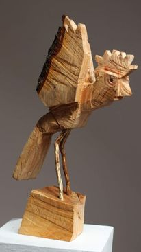 Skulptur, Holz, Vogel, Kunsthandwerk