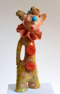 Keramik, Clown, Skultur, Clay