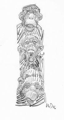 Schimpanse, Tiere, Affe, Zeichnungen