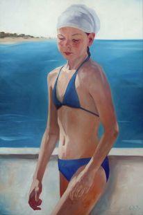 Mädchen, Strand, Licht, Malerei