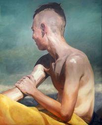 Figur, Junge, Licht, Malerei