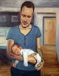 Vater, Kind, Baby, Malerei