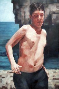 Junge, Strand, Sonne, Malerei