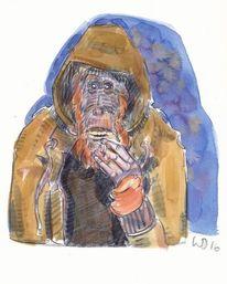 Sandler, Affe, Orang utan, Zeichnungen