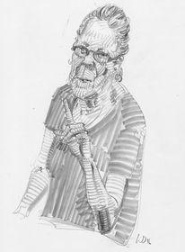 Erhobener zeigefinger, Portrait, Zeichnungen, Dame