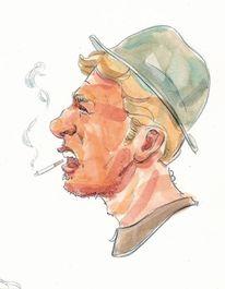 Cowboy, Zeichnungen, Bad