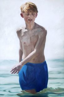 Junge, Haut, Wasser, Malerei